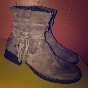 BORN Distressed Brown Suede Short Zip Boots